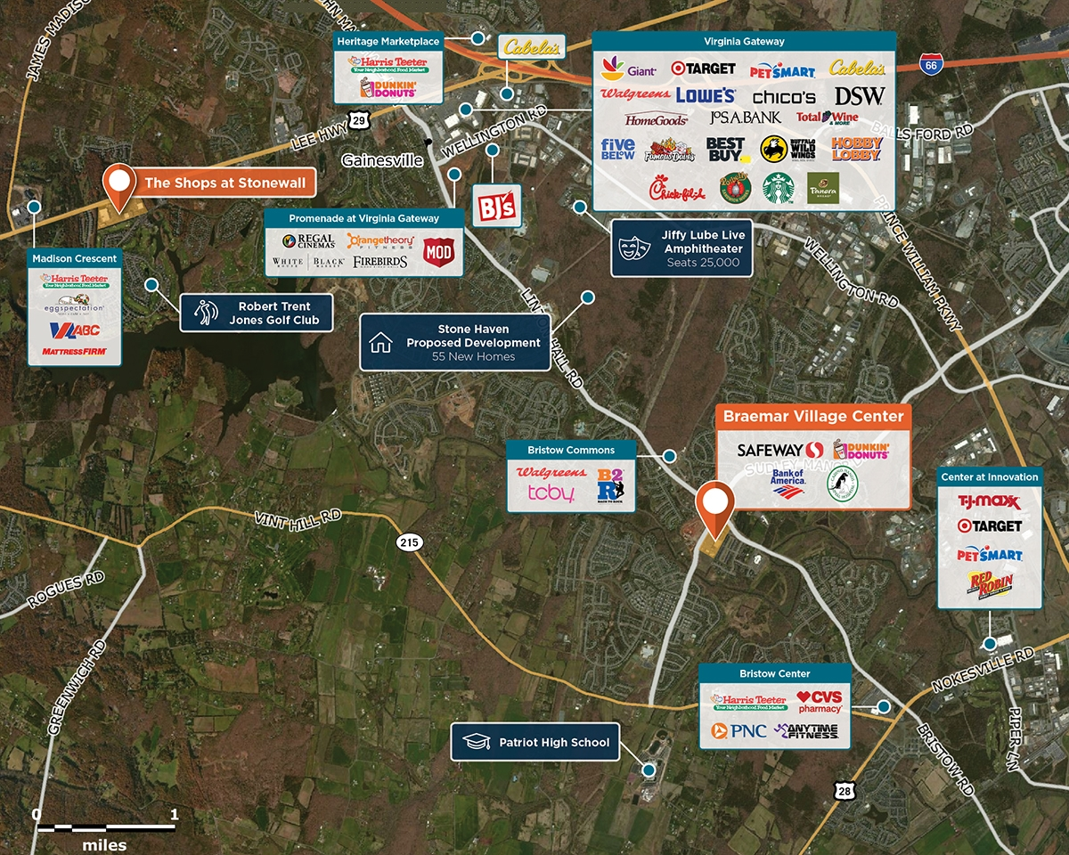 Braemar Village Center Trade Area Map for Bristow, VA 20136