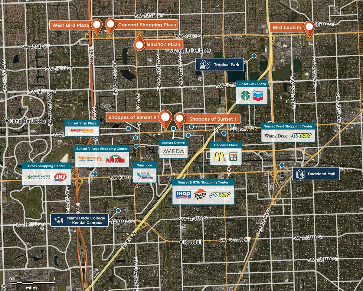 Shoppes of Sunset II Trade Area Map for Miami, FL 33173
