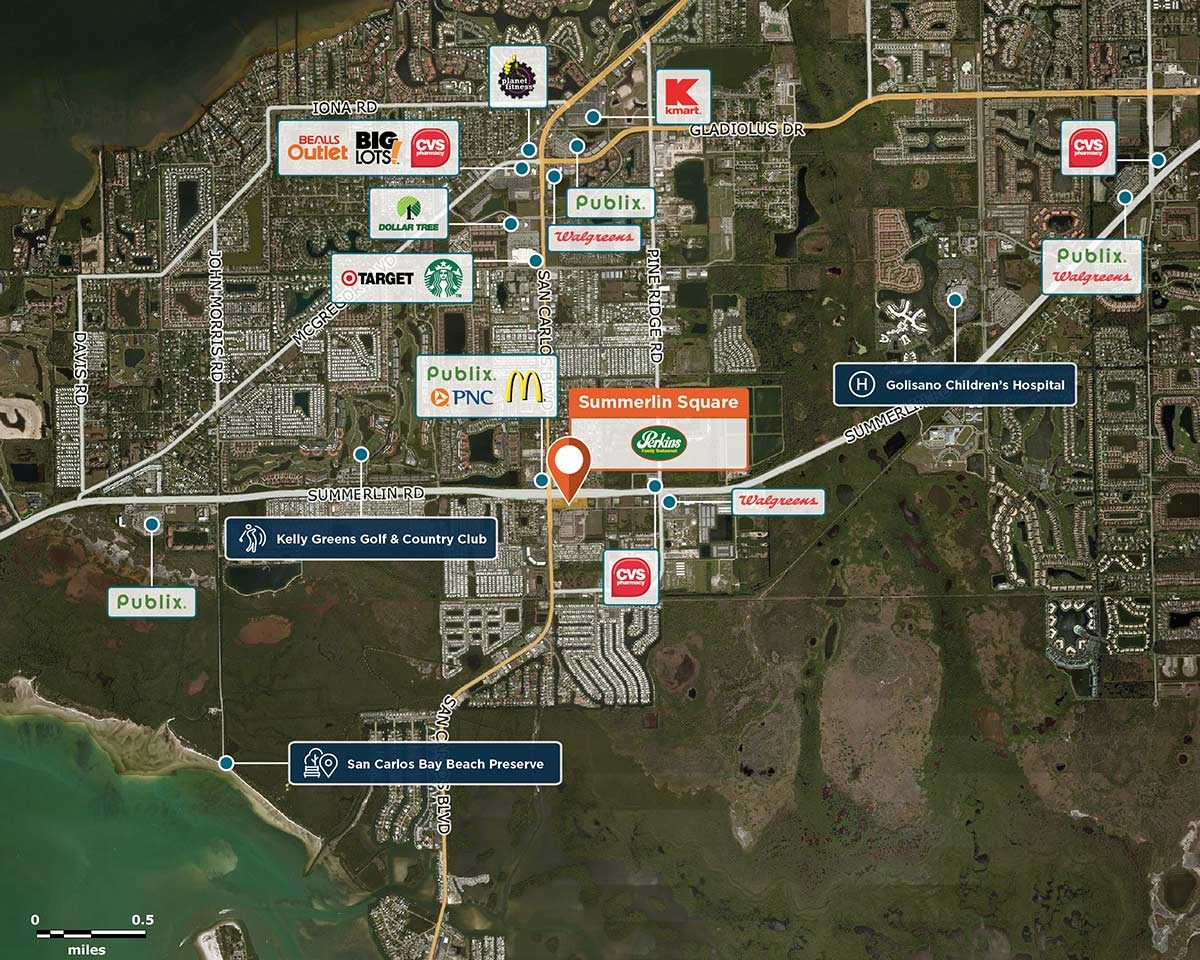 Summerlin Square Outparcel Trade Area Map for Fort Myers, FL 33931