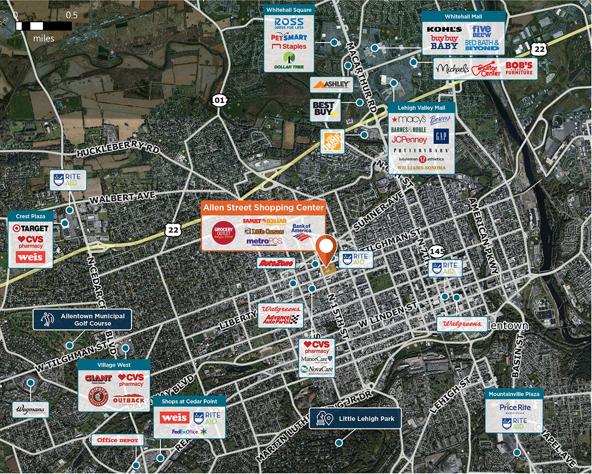 Allen Street Shopping Center Trade Area Map for Allentown, PA 18102