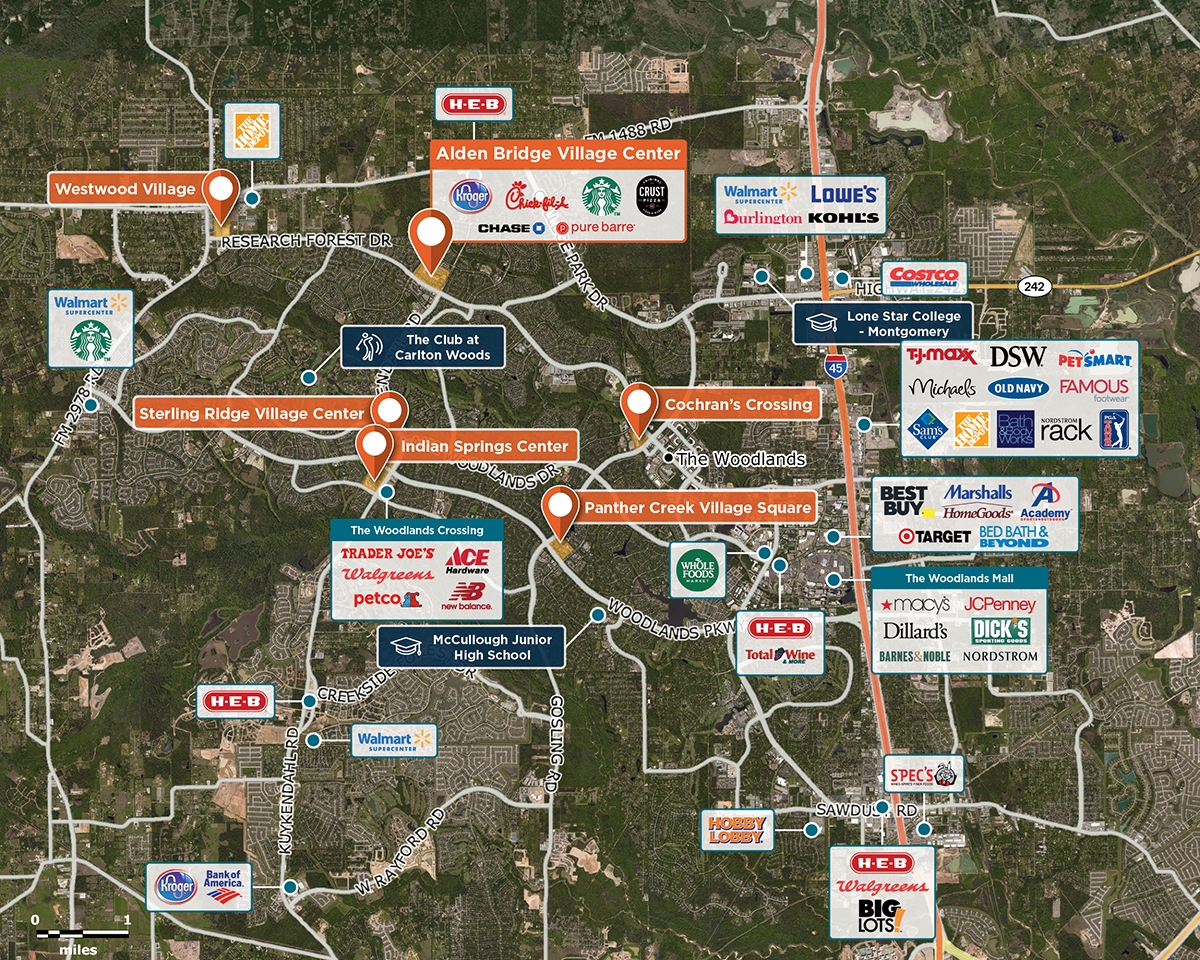 Alden Bridge Village Center Trade Area Map for The Woodlands, TX 77382