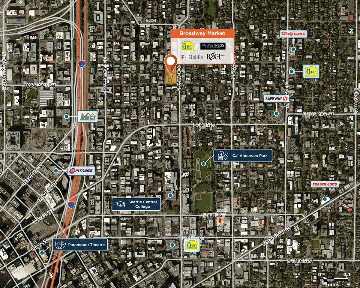 Broadway Market Trade Area Map for Seattle, WA 98102