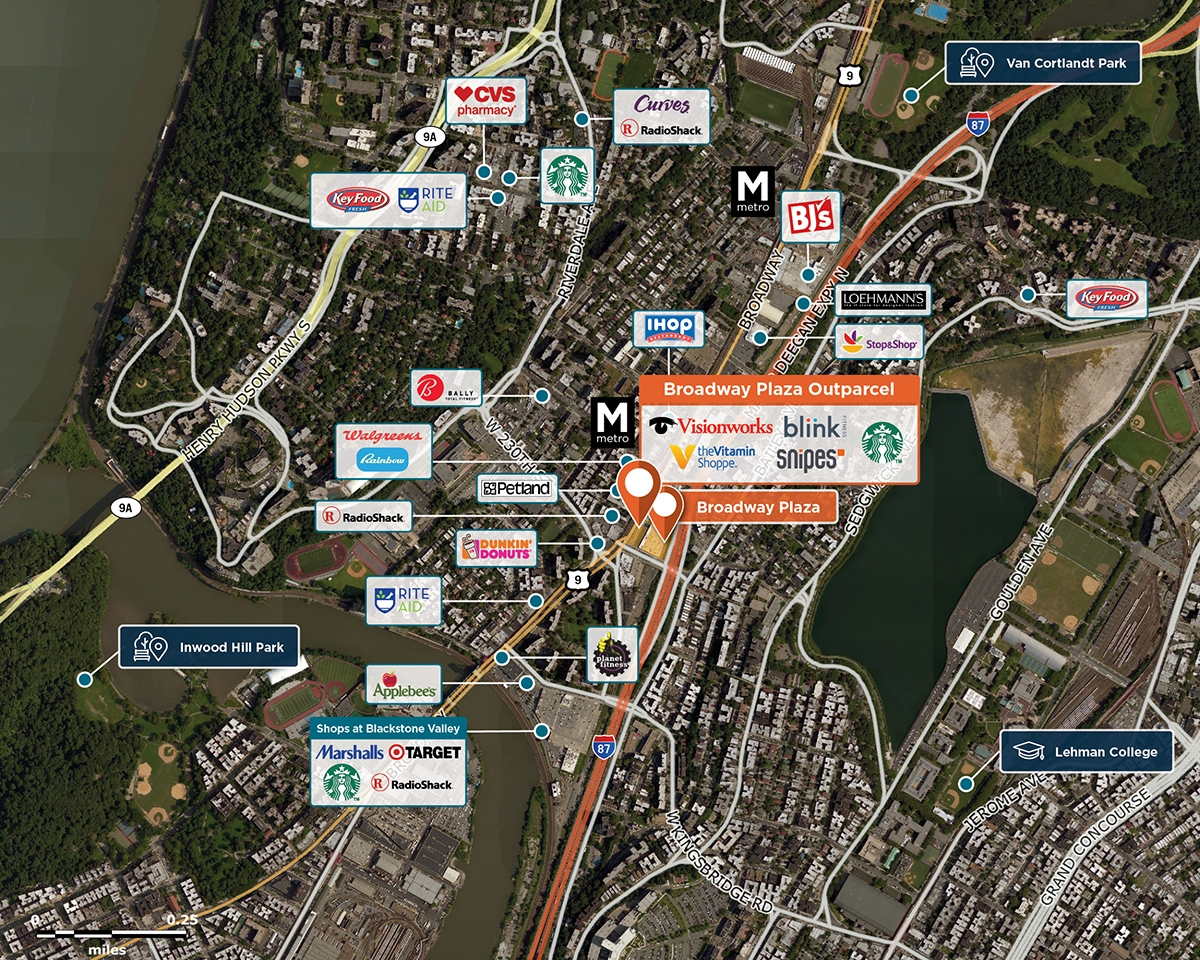 Broadway Plaza Outparcel Trade Area Map for Bronx, NY 10463