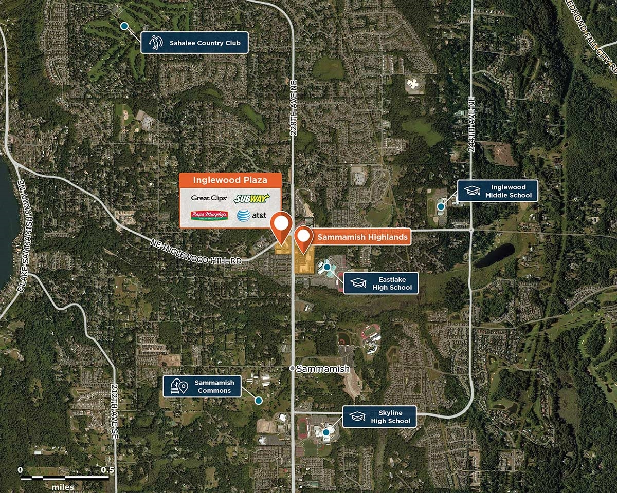 Inglewood Plaza Trade Area Map for Sammamish, WA   98074