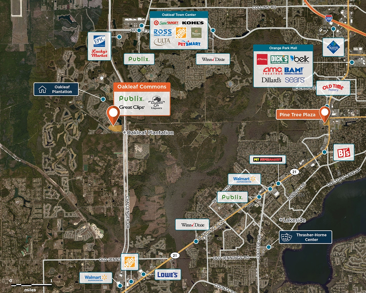 Oakleaf Commons Trade Area Map for Jacksonville, FL 32065