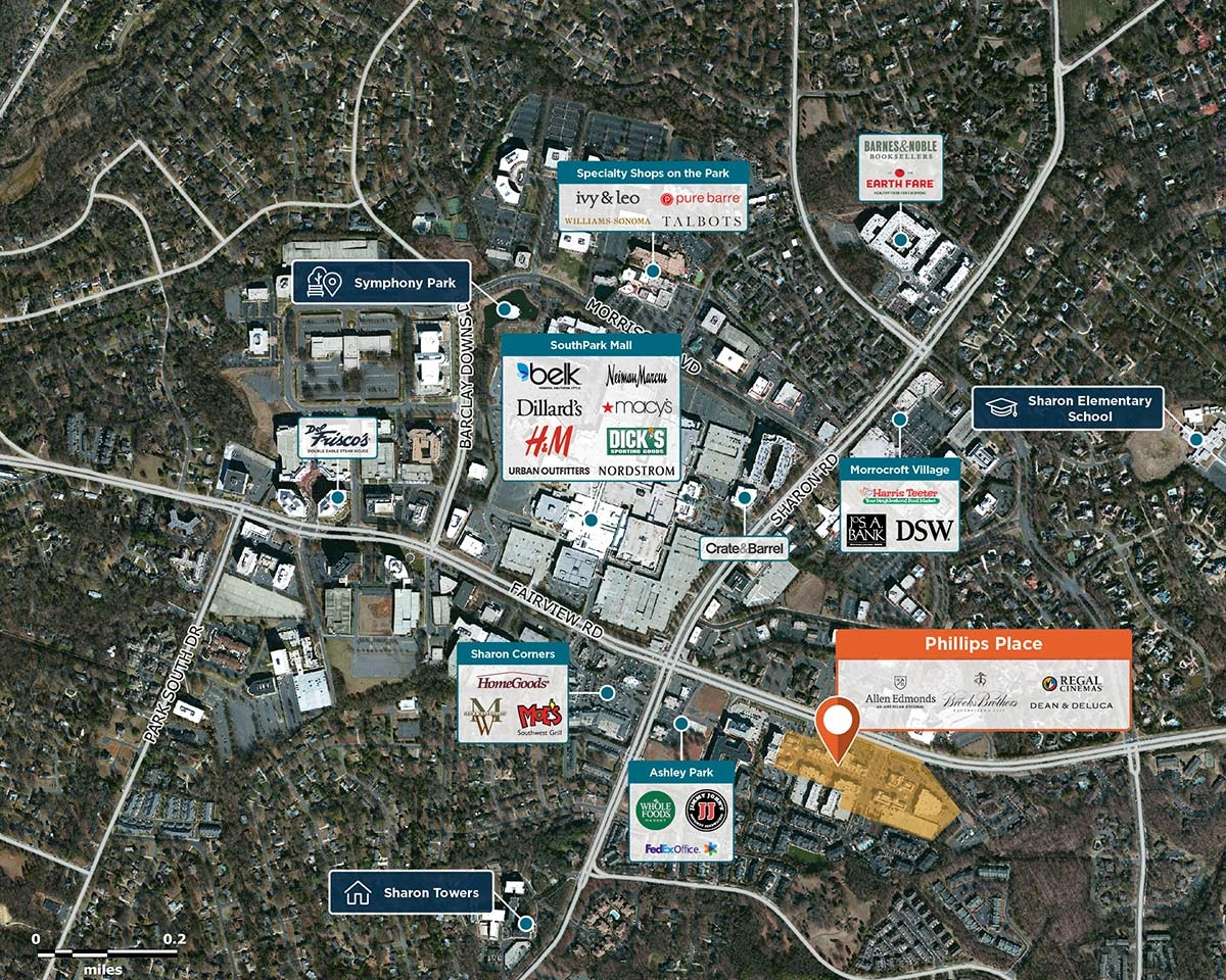 Phillips Place Trade Area Map for Charlotte, NC 28210