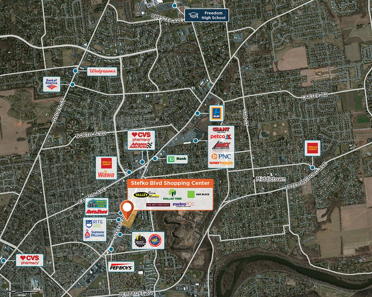 Stefko Blvd Shopping Center Trade Area Map for Bethlehem, PA 18017