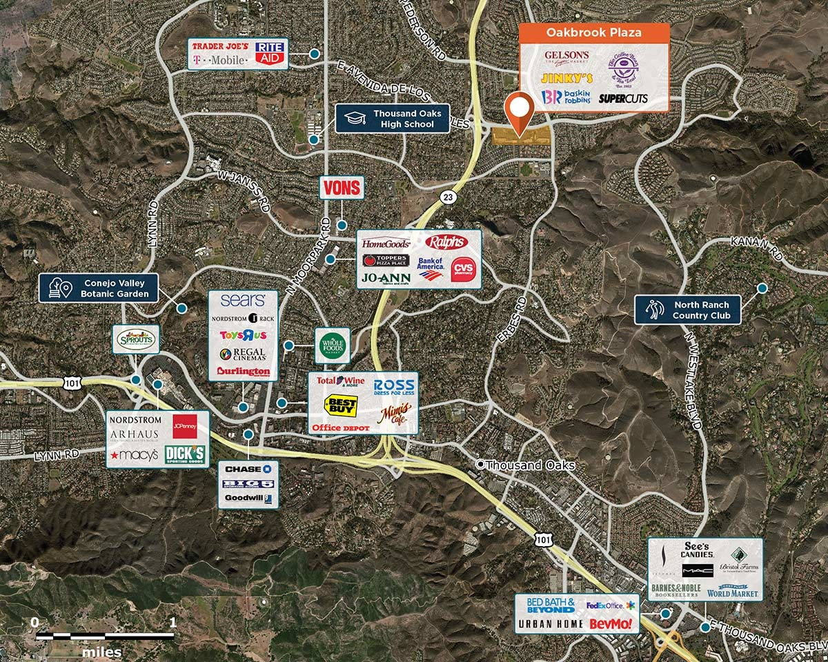Oakbrook Plaza Trade Area Map for Thousand Oaks, CA 91360