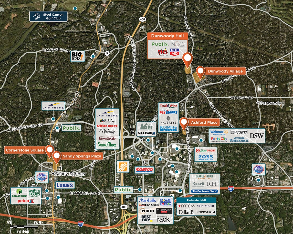 Dunwoody Hall Trade Area Map for Dunwoody, GA 30338