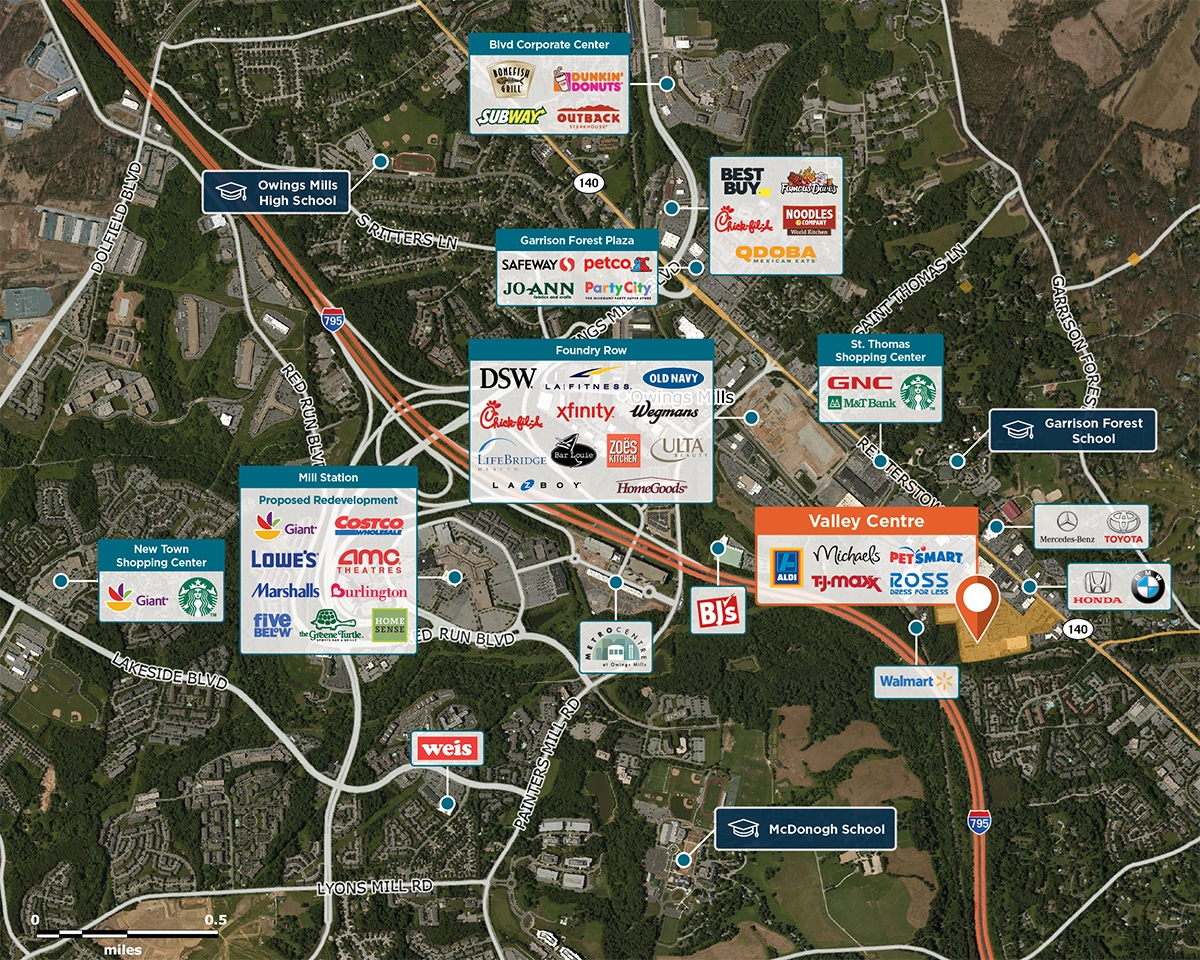 Valley Centre Trade Area Map for Owings Mills, MD 21117