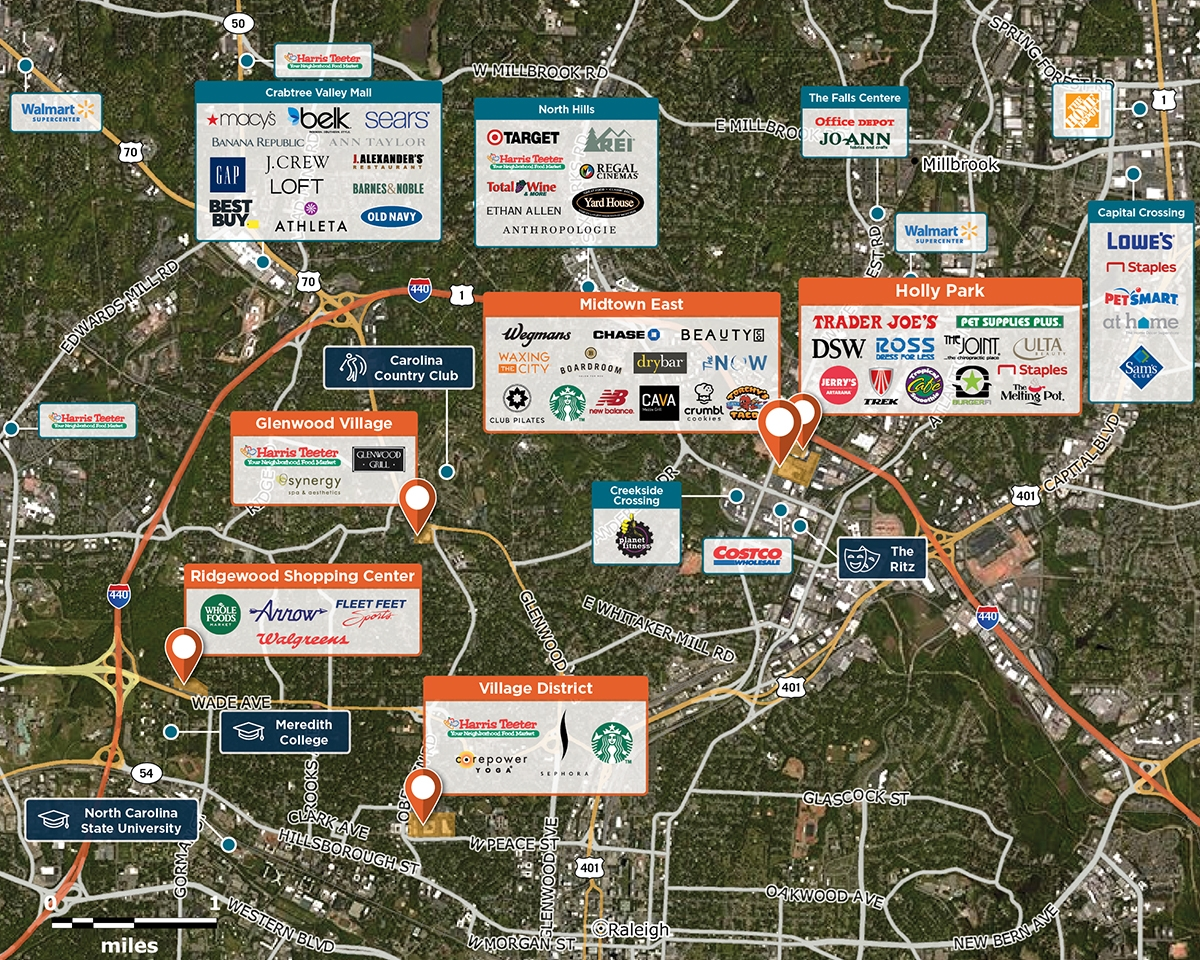 Midtown East Trade Area Map for Raleigh, NC 27609