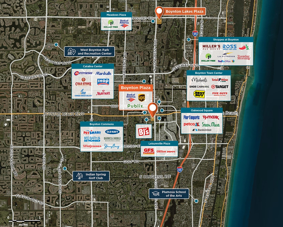 Boynton Plaza Trade Area Map for Boynton Beach, FL 33436