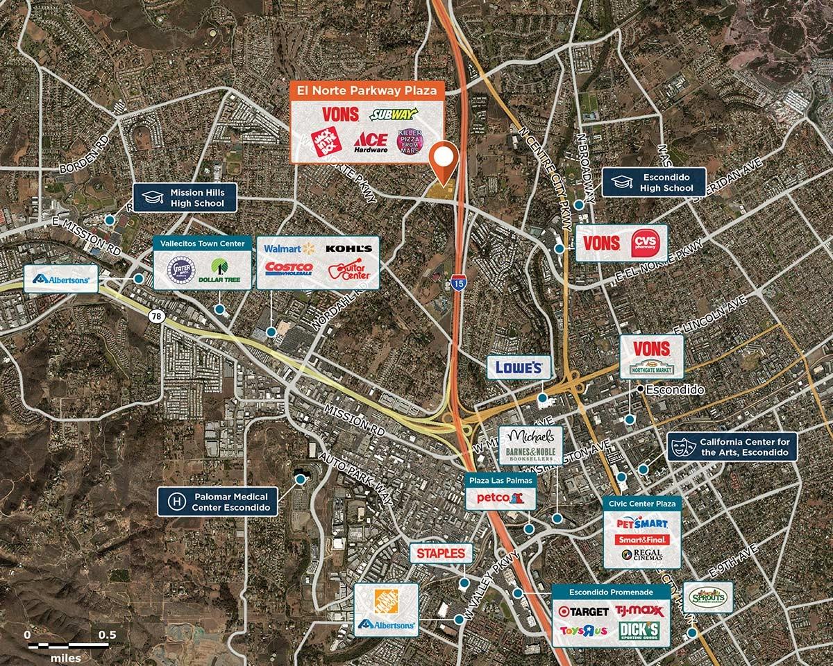 El Norte Pkwy Plaza Trade Area Map for Escondido, CA 92026