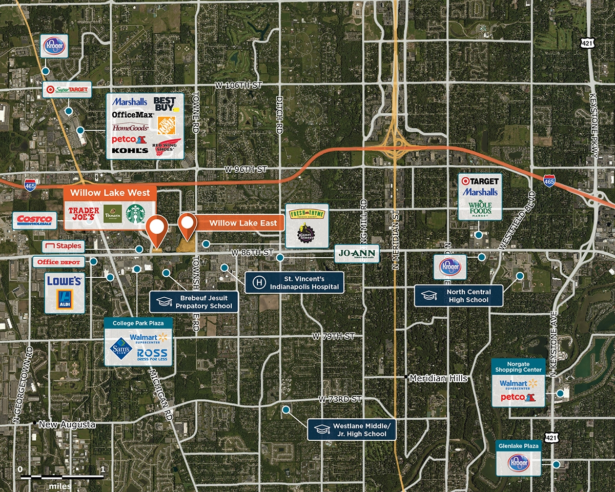 Willow Lake West Trade Area Map for Indianapolis, IN 46268