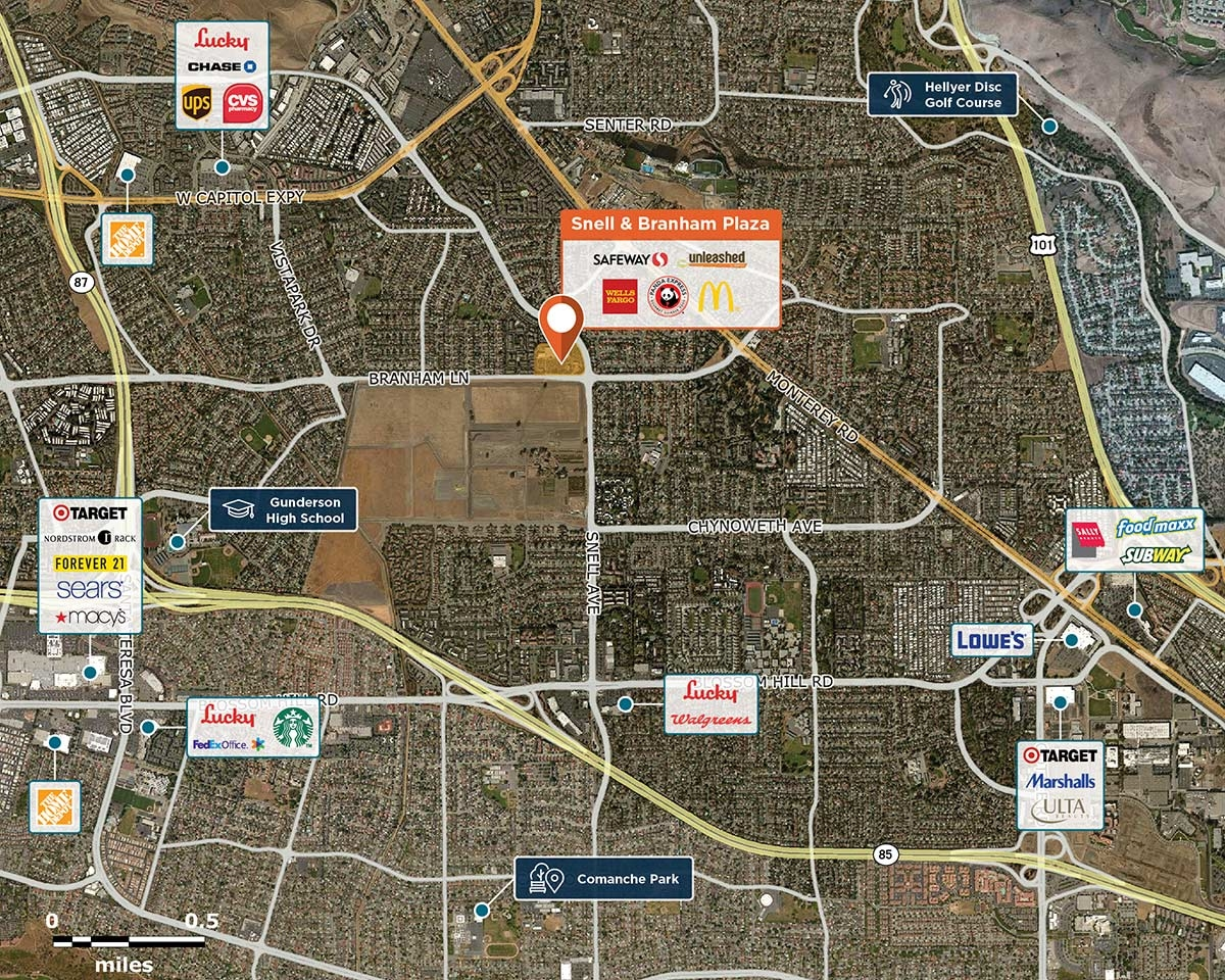 Snell & Branham Plaza Trade Area Map for San Jose, CA 95136