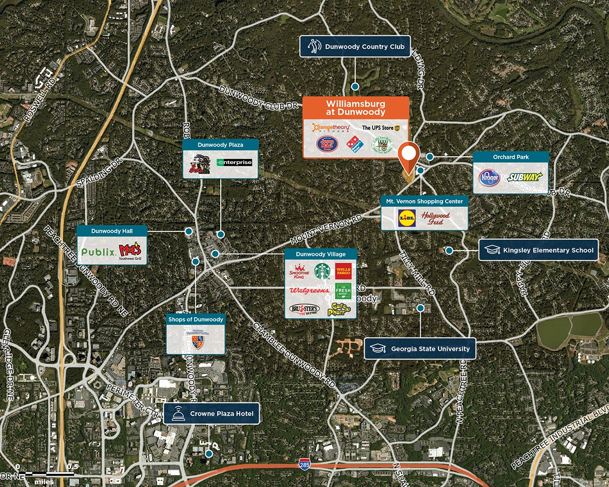 Williamsburg at Dunwoody Trade Area Map for Dunwoody, GA 30338