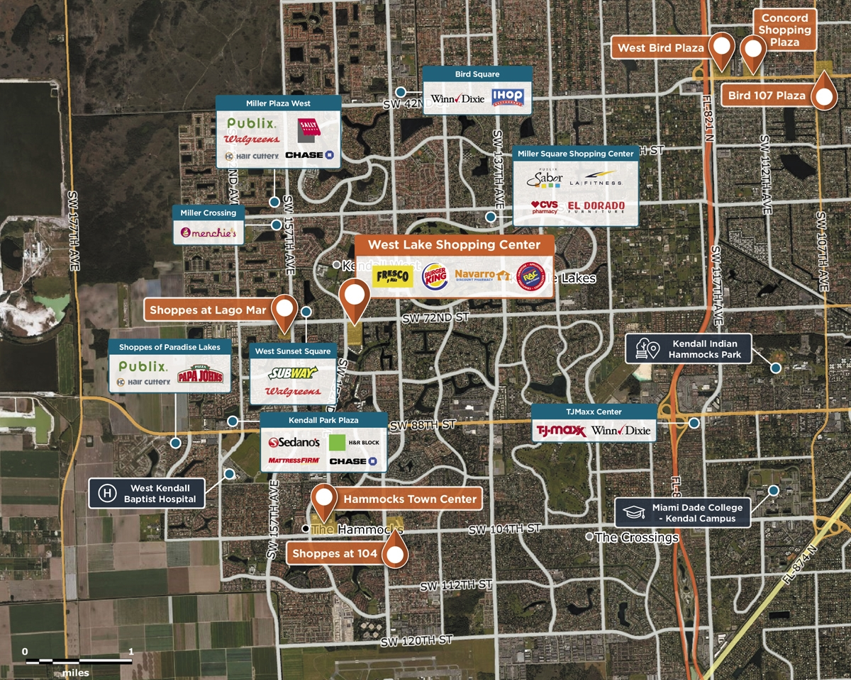 West Lake Shopping Center Trade Area Map for Miami, FL 33193