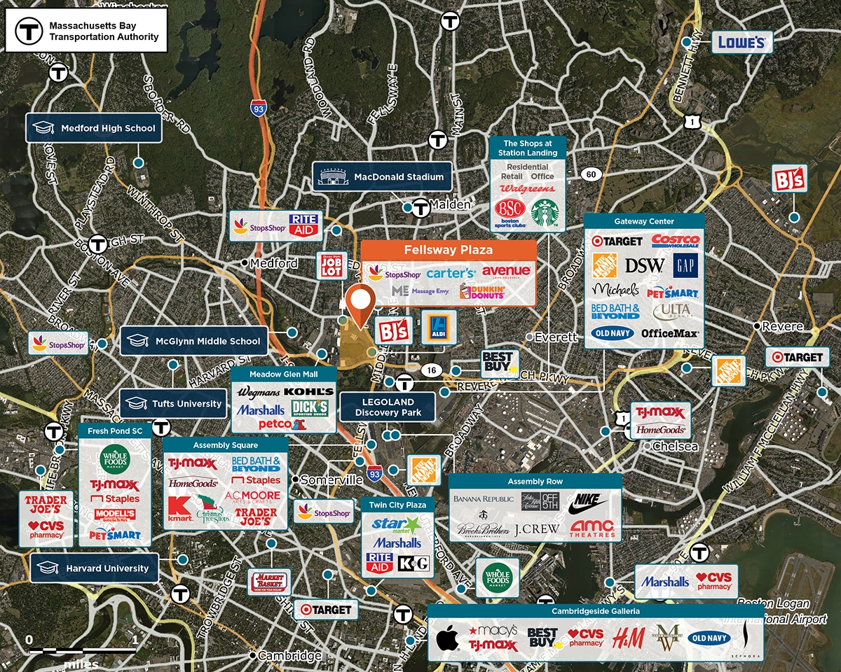 Fellsway Plaza Trade Area Map for Medford, MA 02155