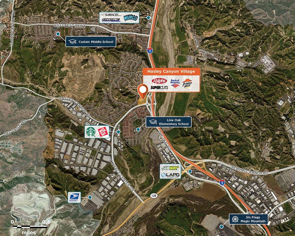 Hasley Canyon Village Trade Area Map for Castaic, CA 92835