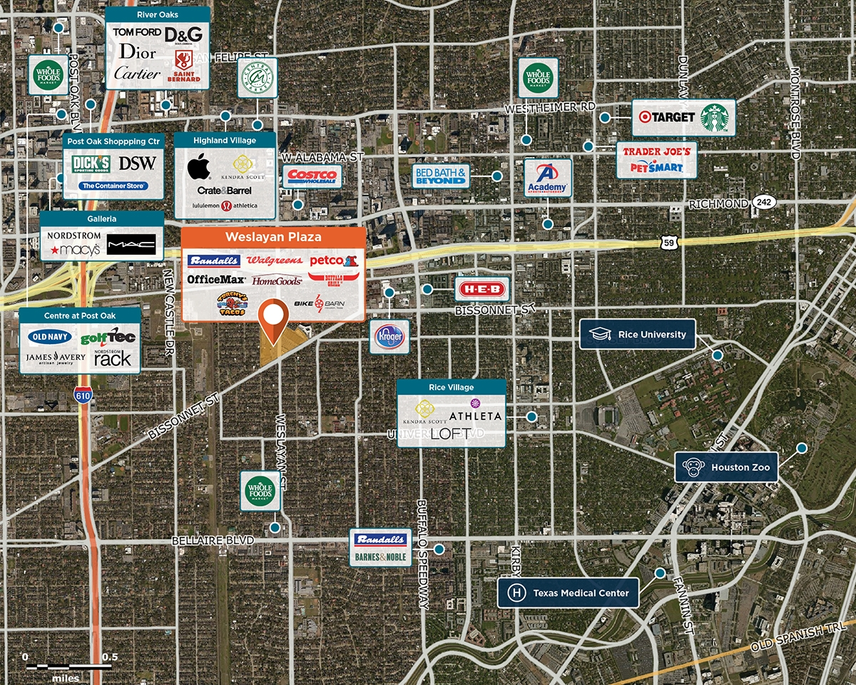 Weslayan Plaza Trade Area Map for Houston, TX 77005