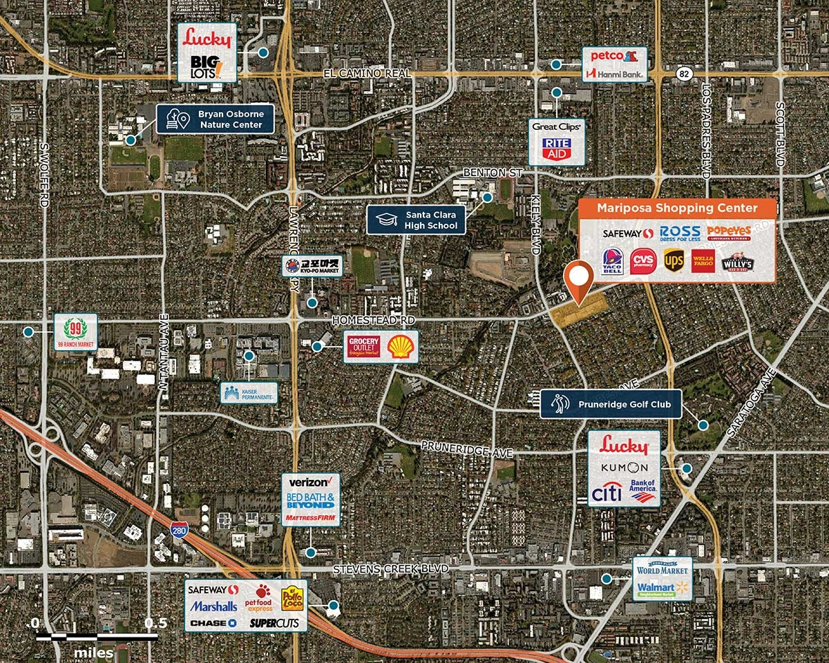 Mariposa Shopping Center Trade Area Map for Santa Clara, CA 95051