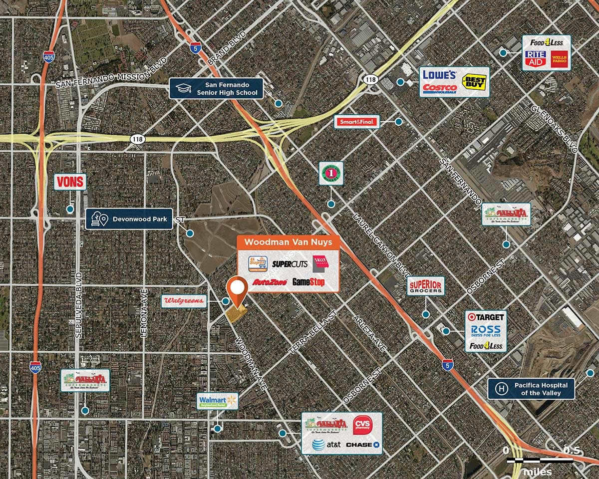 Woodman Van Nuys Trade Area Map for Arleta, CA 91331