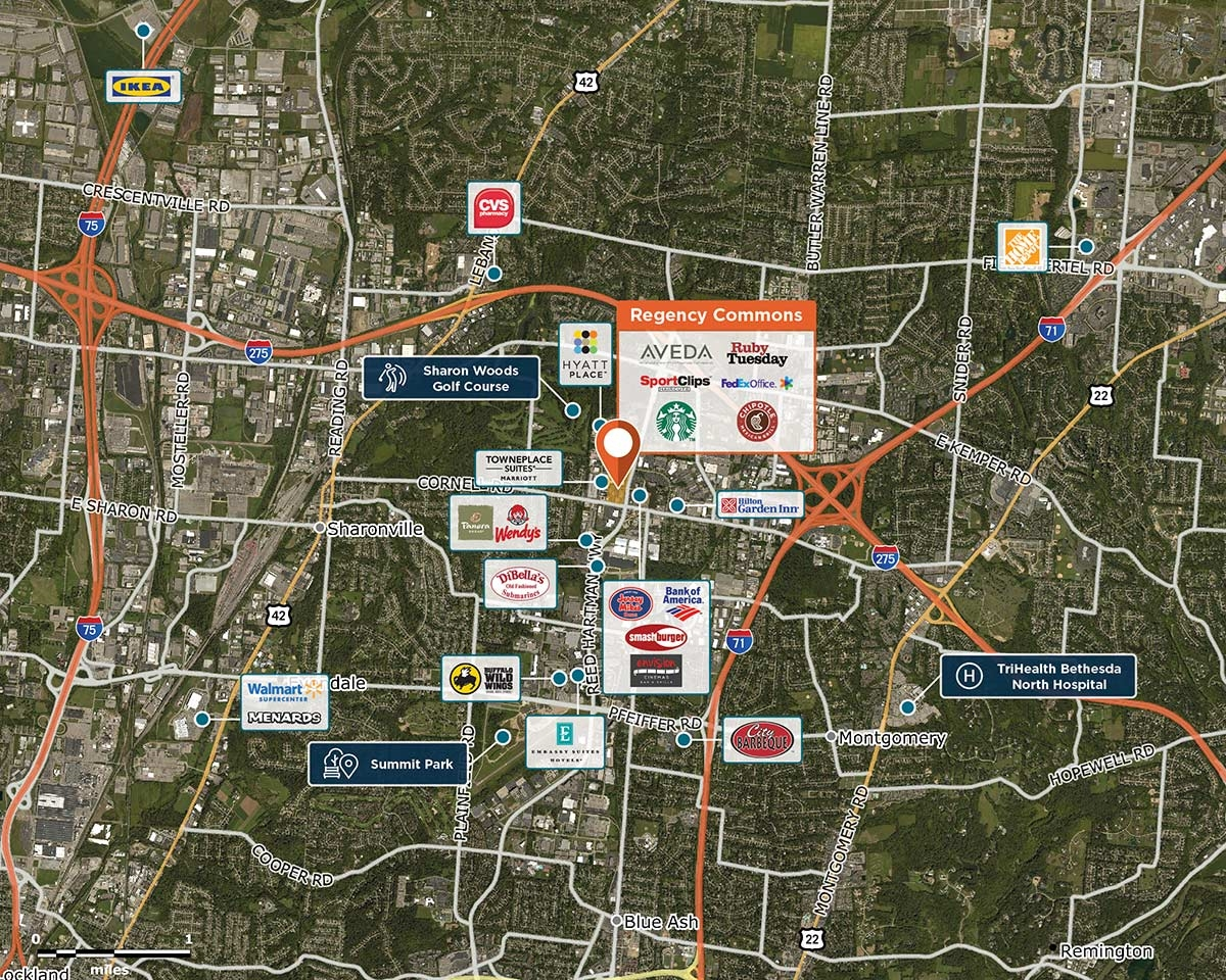 Regency Commons Trade Area Map for Blue Ash, OH 45241