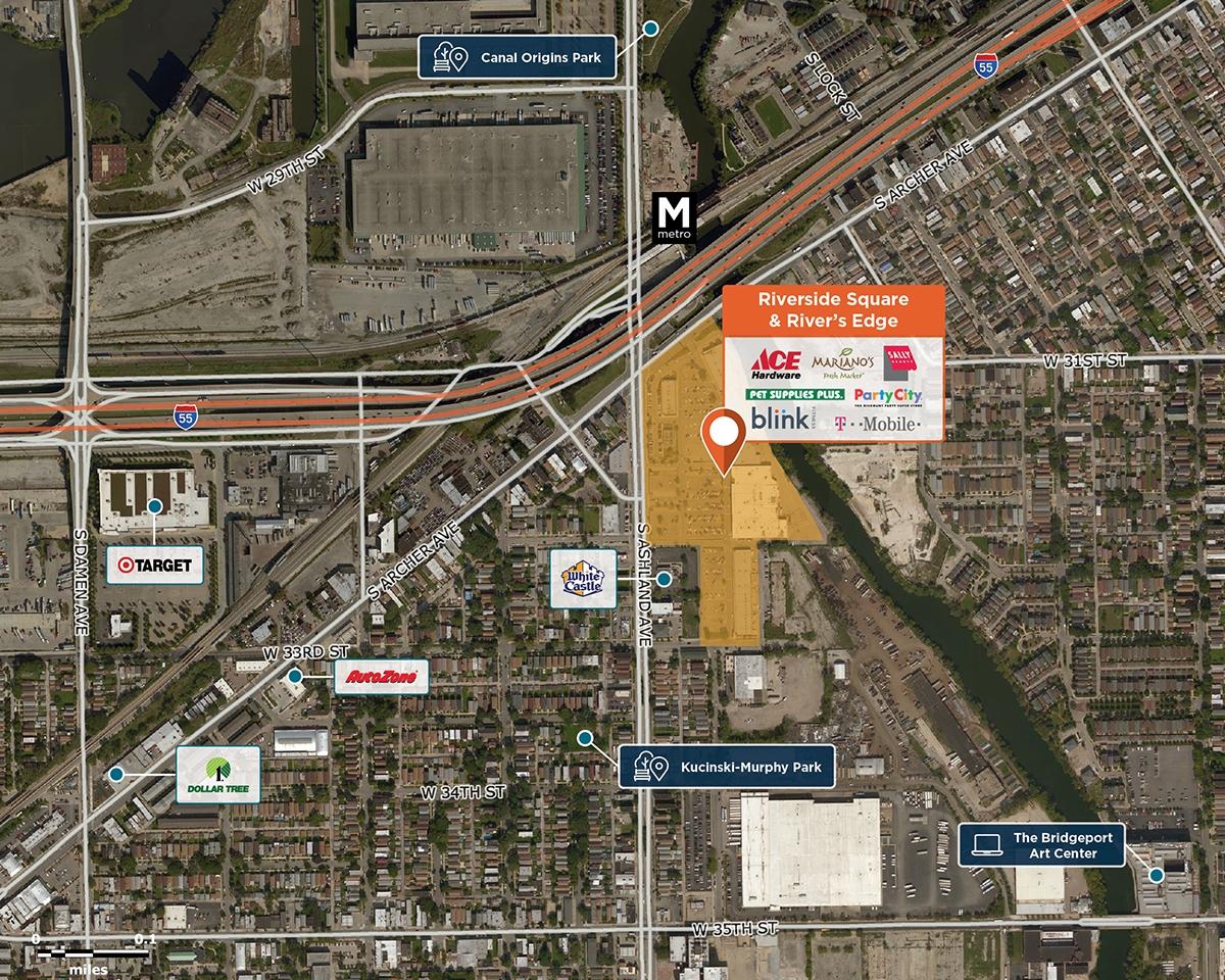 Riverside Square & River's Edge Trade Area Map for Chicago, IL 60608