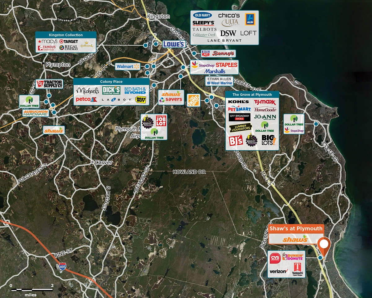 Shaw's at Plymouth Trade Area Map for Plymouth, MA 02360