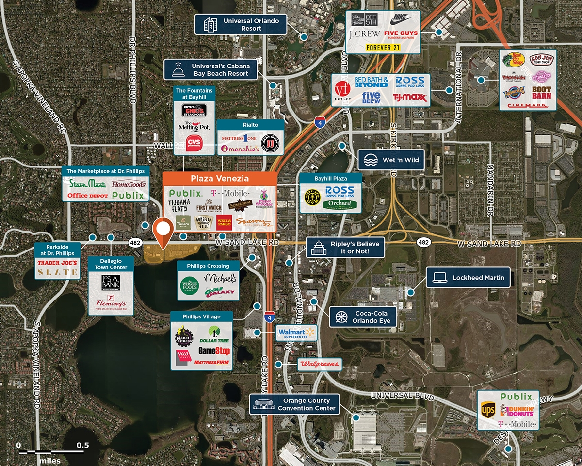 Plaza Venezia Trade Area Map for Orlando, FL 32819