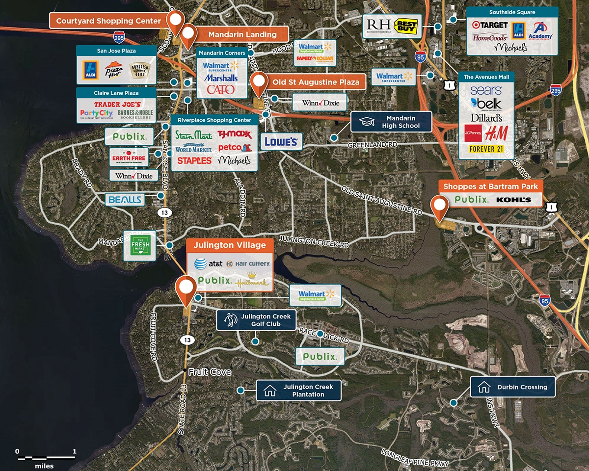 Julington Village Trade Area Map for Jacksonville, FL 32259