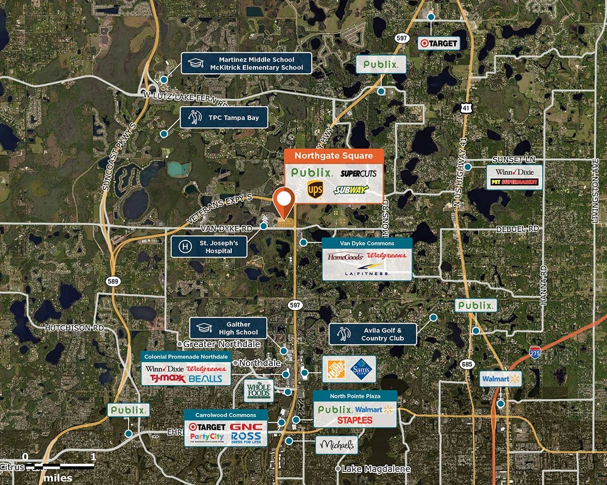 Northgate Square Trade Area Map for Lutz, FL 33558