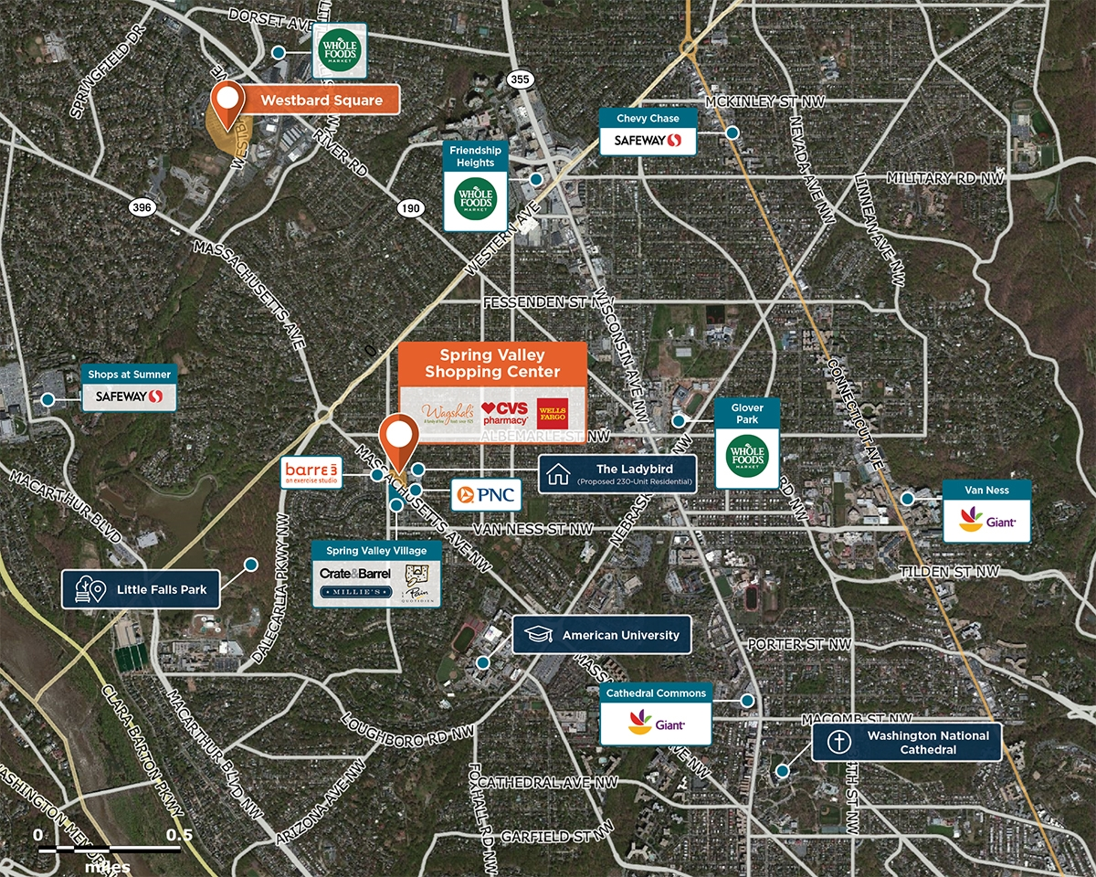 Spring Valley Shopping Center Trade Area Map for Washington, DC 20016