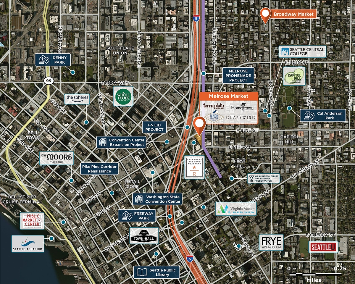 Melrose Market Trade Area Map for Seattle, WA 98122