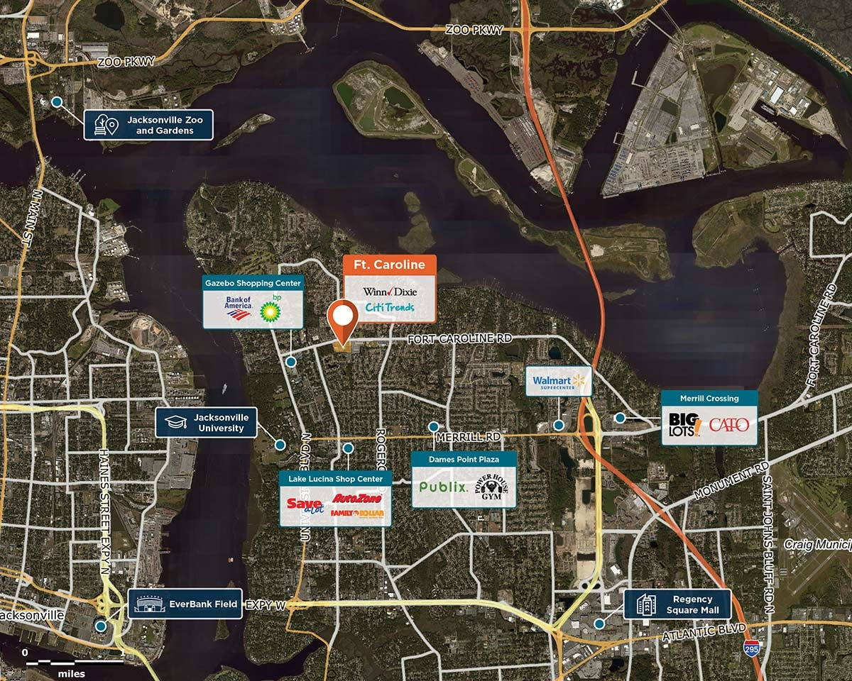Ft. Caroline Trade Area Map for Jacksonville, FL 32211