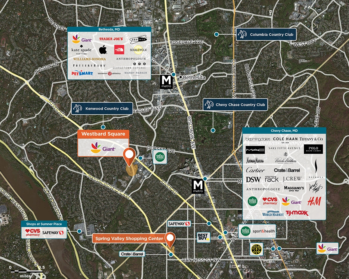 Westwood Shopping Center Trade Area Map for Bethesda, MD 20816