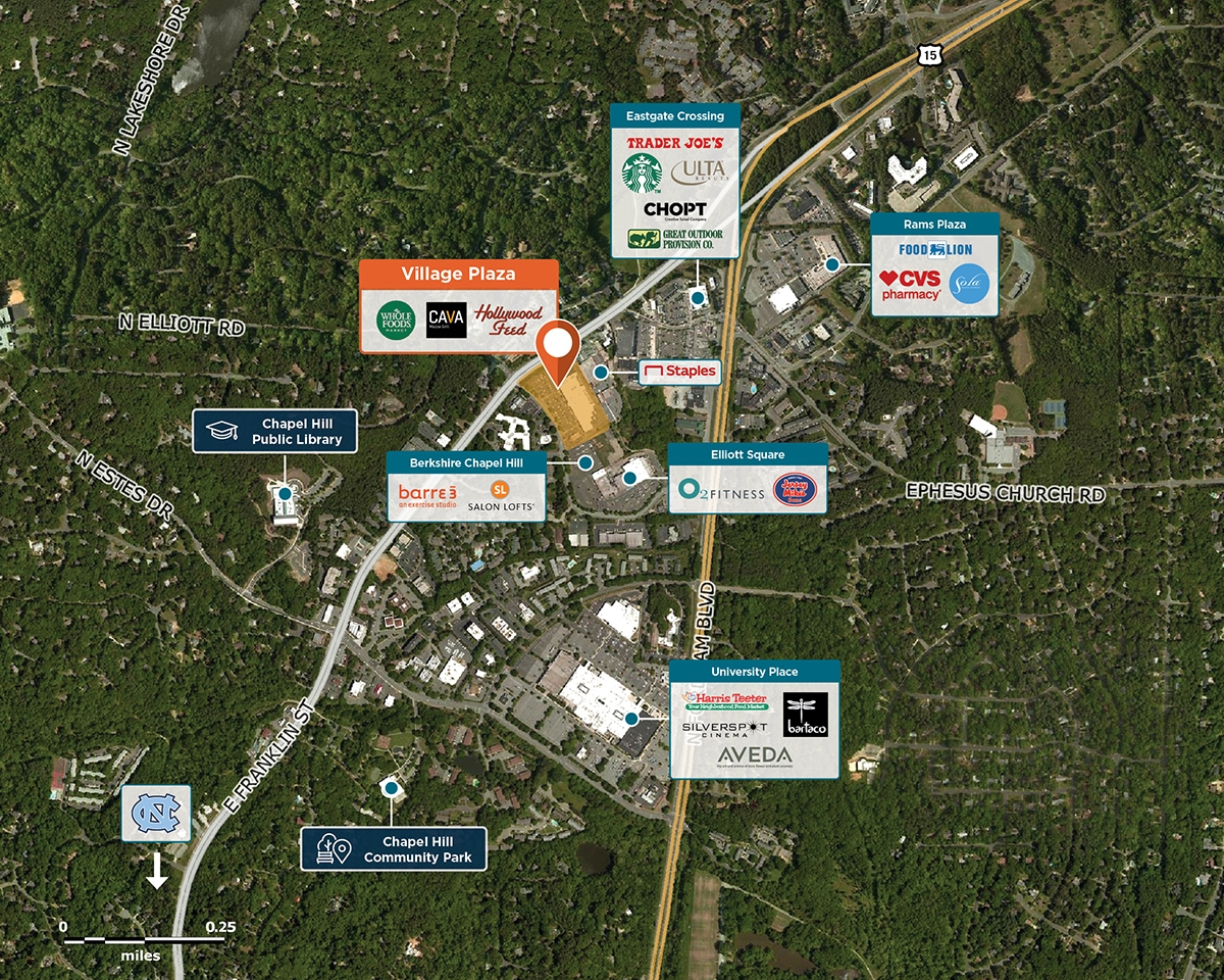 Village Plaza Trade Area Map for Chapel Hill, NC 27514