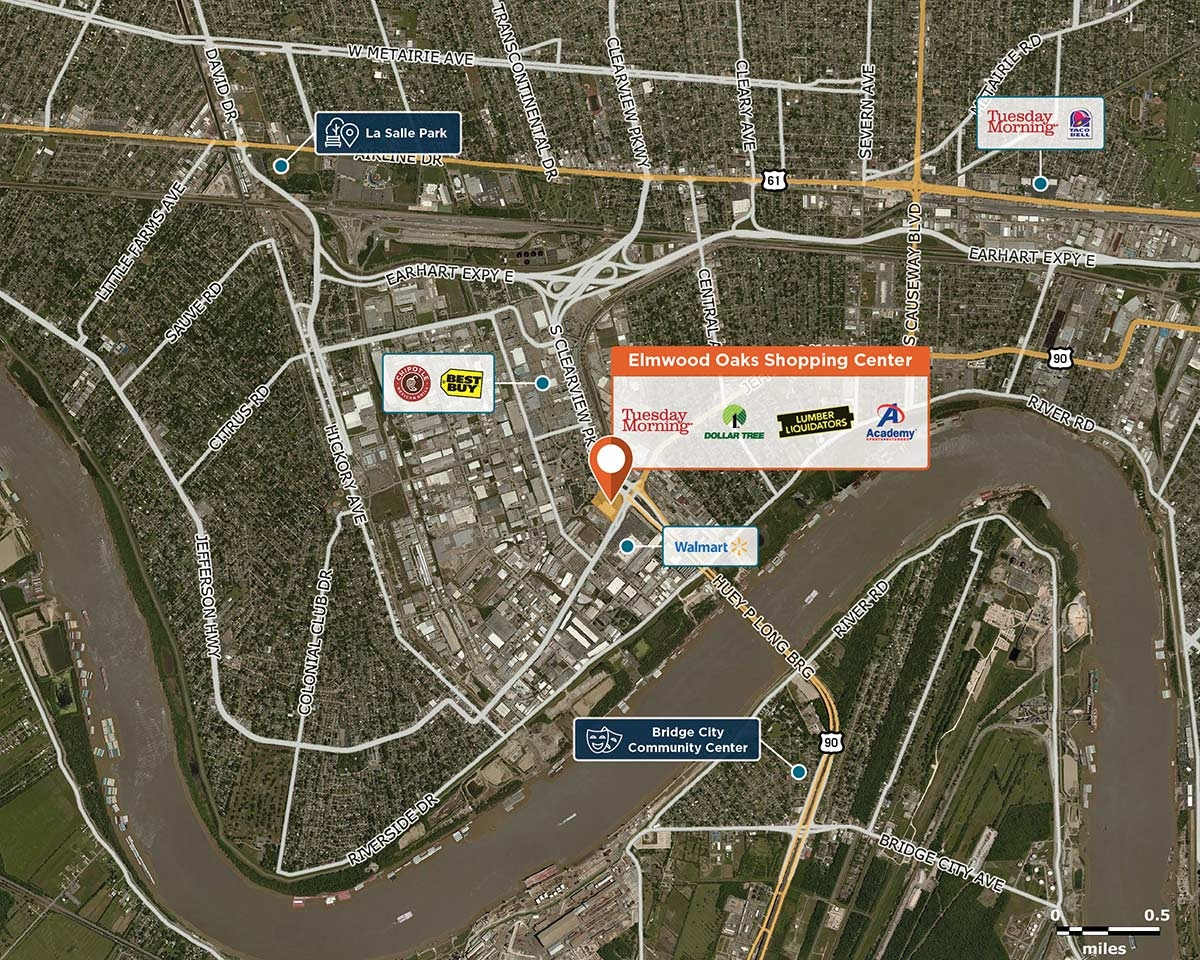Elmwood Oaks Shopping Center Trade Area Map for Harahan, LA 70123