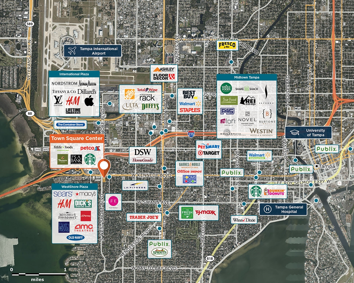 Town Square Center Trade Area Map for Tampa, FL 33609