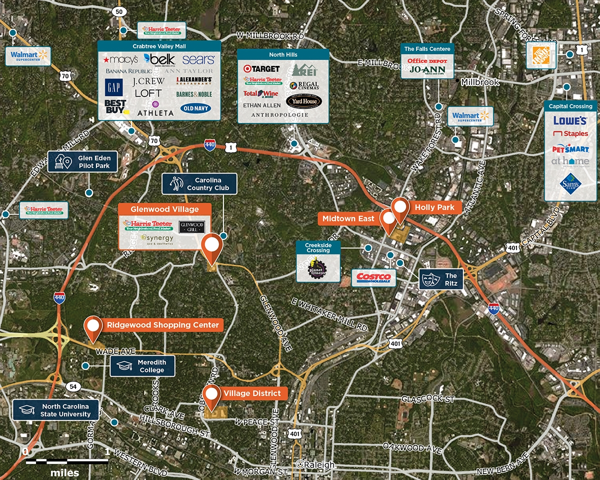 Glenwood Village Trade Area Map for Raleigh, NC 27608