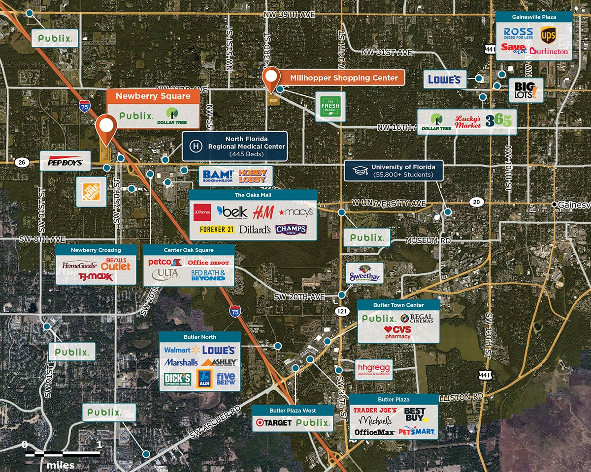 Newberry Square Trade Area Map for Gainesville, FL 32606