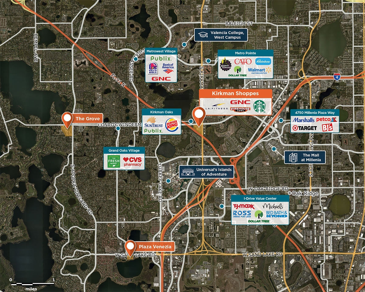 Kirkman Shoppes Trade Area Map for Orlando, FL 32811