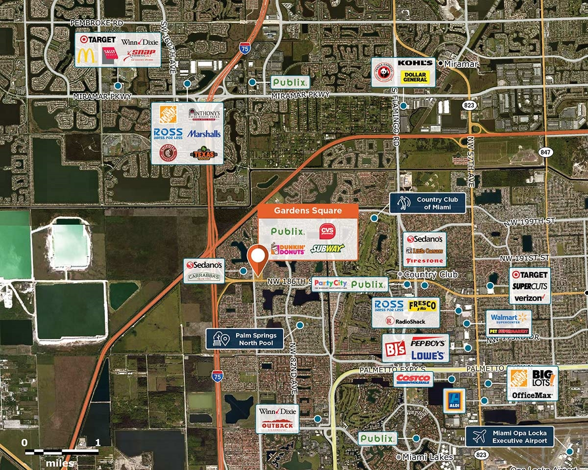 Gardens Square Trade Area Map for Hialeah, FL 33015
