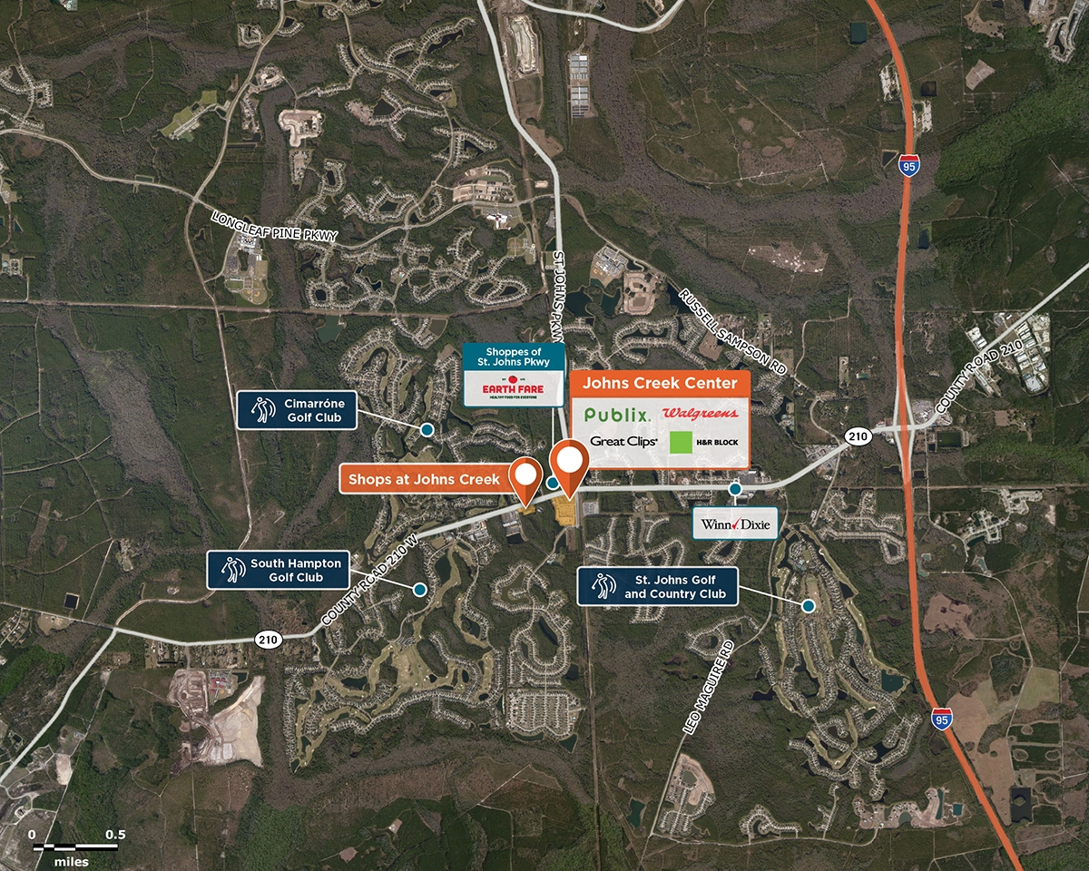 Johns Creek Center Trade Area Map for St. Johns, FL 32259