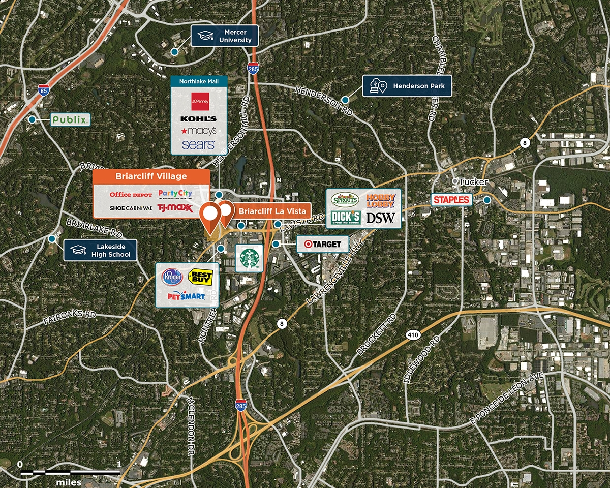 Briarcliff Village Trade Area Map for Atlanta, GA 30345
