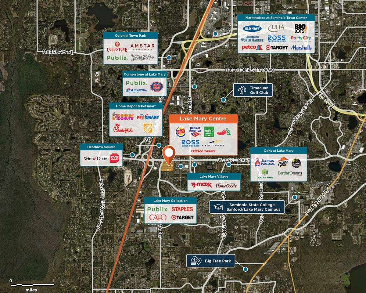 Map Of Lake Mary Florida.Lake Mary Centre Lake Mary Fl 32746 Retail Space Regency Centers