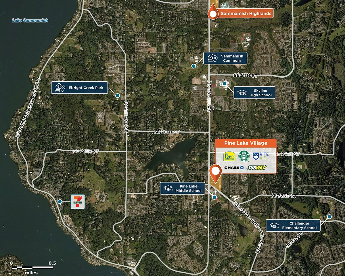 Pine Lake Village Trade Area Map for Sammamish, WA 98075