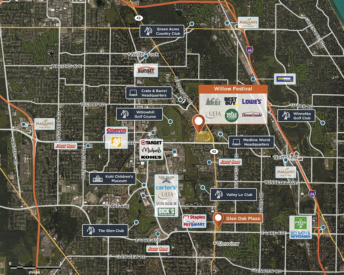 Willow Festival Trade Area Map for Northbrook, IL 60062