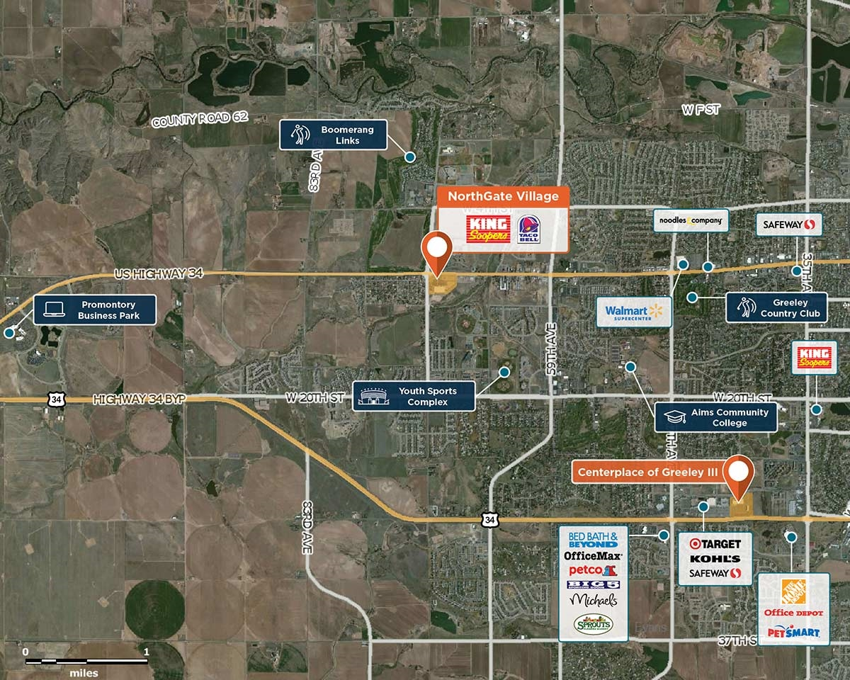 NorthGate Village Trade Area Map for Greeley, CO 80634