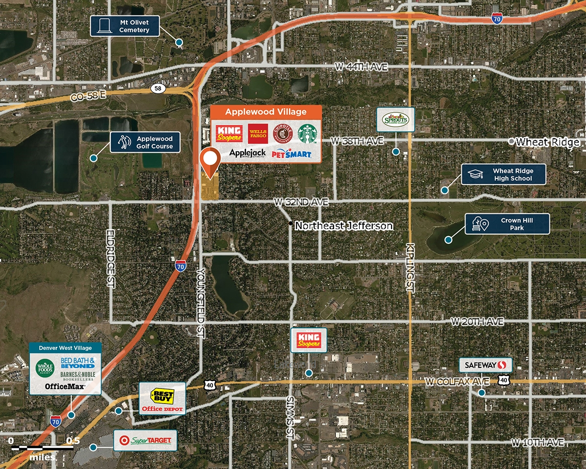 Applewood Village Trade Area Map for Wheat Ridge, CO  80033